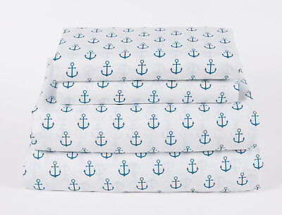 - Nautical Anchor Twin Full Queen or King Sheet Set Microfiber Blue White Coastal