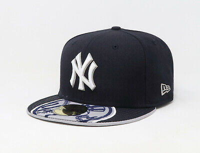 New Era 59Fifty Hat Mens MLB New York Yankees On The Ball Logo Visor Fitted Cap ()