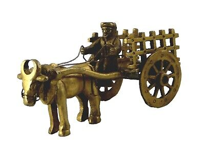 One Bull Bullock Cart Showpiece Antique Finish Handmade Brass Figure Home Decor