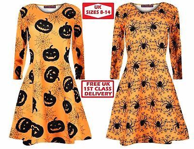 Pumpkin SPINNE NETZ HORROR Blood Halloween Kostüm Damen Kittel ausgestellt ()