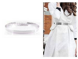 Damen Gürtel Metal Silber Rund Taille Taillengürtel One Size Metallic #SG