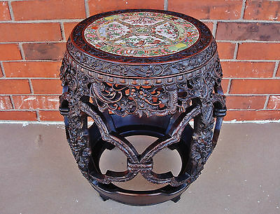 Chinese Qianlong Zitan Barrel-Form Stool (ZUODUN) w/ Rose Medallion Porcelain