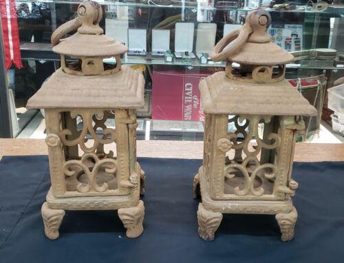 Pair of Vintage Cast Iron Chinese Lanterns