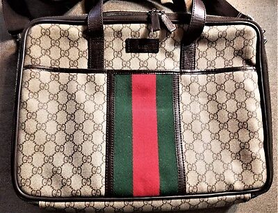 100% AUTH GUCCI CLASSIC VINTAGE MONOGRAM LAPTOP CARRYING BAG PREOWNED BROWN for sale  Chatsworth