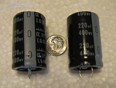 220uf 400v Nichicon Lq Series 85c Electrolytic Capacitors 2 Pcs