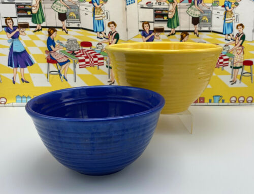2 Nested Bauer Pottery Rings Inside Mixing Bowls Ringware Cobalt Blue Yellow