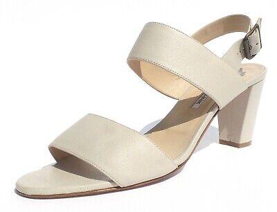 - MANOLO BLAHNIK Khan Cashmere Beige Leather Two Band Block Heel Sandals 39.5 $765