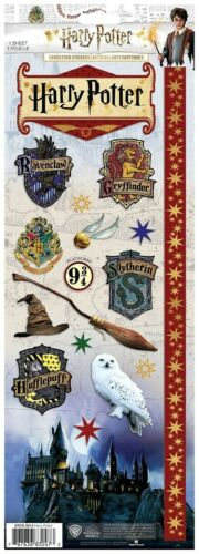 "Scrapbooking Stickers Cardstock PH 13"" Harry Potter Hogwarts Owl Broom Crests"