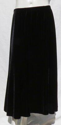 CHICO'S Stretch Velour Velvet A Line Gored Skirt Long Black 2 US 12 14 L EUC Stretch Velvet Long A-line