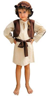 Hirten Kostüm Krippenspiel Kinder Mädchen aus Baumwolle Braun-Beige