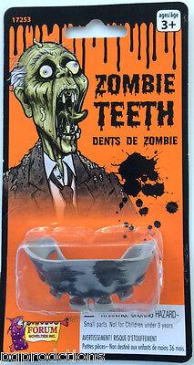 RUBBER ZOMBIE TEETH Fake Monster Joke Gag Prank Rotted Mummy Halloween Dentures  - Mummy Halloween Joke