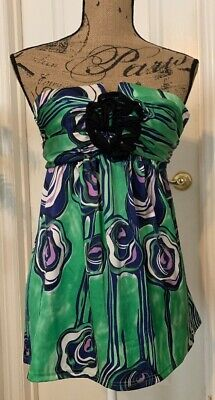 PRAIRIE New York $196 Printed Green Silk Strapless Top with Rosette - Size XS