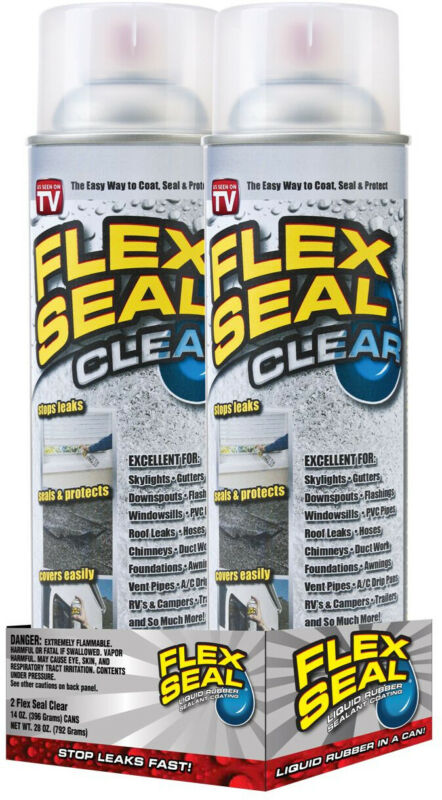 Flex Seal Clear Jumbo 14oz - 2 Cans - Liquid Rubbe Spray Sealant