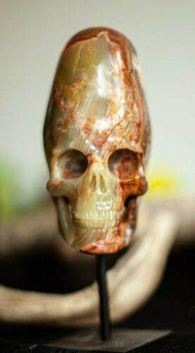 """Huge 5.2"""" AFGHANISTAN JADE Carved Crystal Incan Skull"""