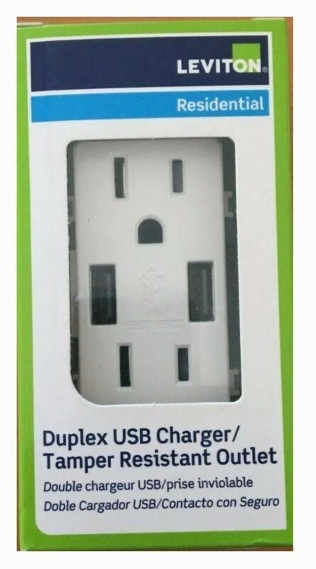 Leviton T5632-W USB Outlet 15 Amp, Decora Tamper-Resistant Receptacle -White