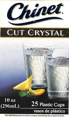 (Chinet 10 ounce Cut Crystal Plastic Party Cups Disposable Reusable 25 Pack USA)