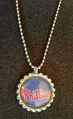 PHILADELPHIA PHILLIES BASEBALL TEAM LOGO BOTTLE CAP SHAPE NECKLACE PENDANT LOT/4 - Logo Baseball Pendant