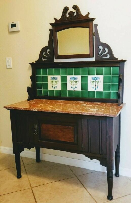 English Commode Antique Victorian Washstand in Walnut, Art Nouveau Tile, Mirror!
