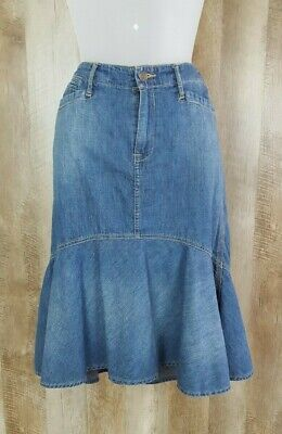 Vintage Ralph Lauren Jeans Paneled Denim Skirt Sz 6 Trumpet Boho Modest No Slits Paneled Denim Skirt