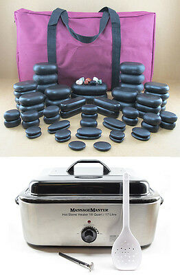 MassageMaster HOT STONE MASSAGE KIT: 70 Basalt Stones + 18 Quart (17l) Heater