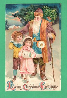 1909 CHRISTMAS POSTCARD SANTA CLAUS PURPLE COAT/CAP CHILDREN STAFF SNOW TOYS  - Santa Claus Coat