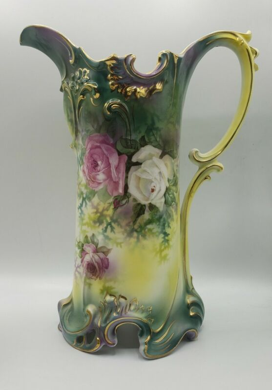 """ANTIQUE MARKED RS PRUSSIA HANDPAINTED ROSES TANKARD WATER PITCHER 11 3/4"""" T"""