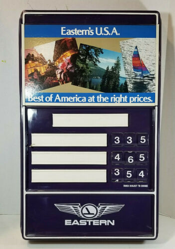 Vintage Eastern Airlines Fare Advertisement Terminal Gate Plastic Sign