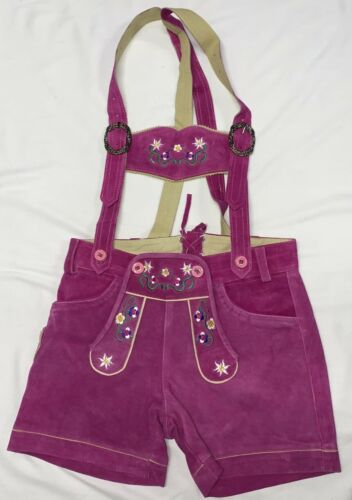 Ladies Leather Lederhosen - Pink EU size 38 (US 6-8)