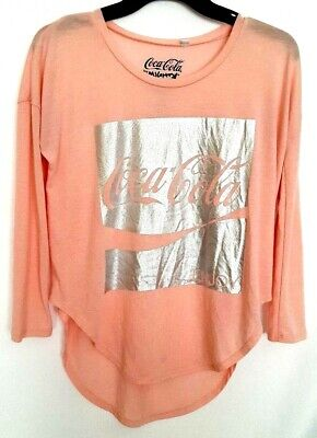 Womens Pink Coca Cola t-shirt by Mighty Fine High/Low hem Size Small