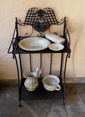 Stilarts Wasch-Tisch-Set antik Waschtischgarnitur Badmöbel Porzellan Metall alt