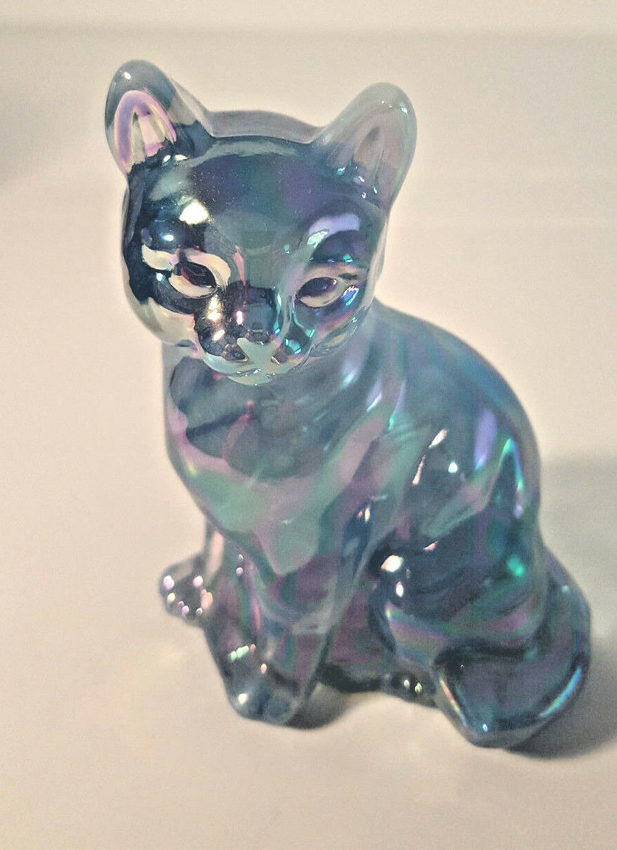 FENTON SITTING CAT IRIDIZED BLUE FIGURINE - $59.00
