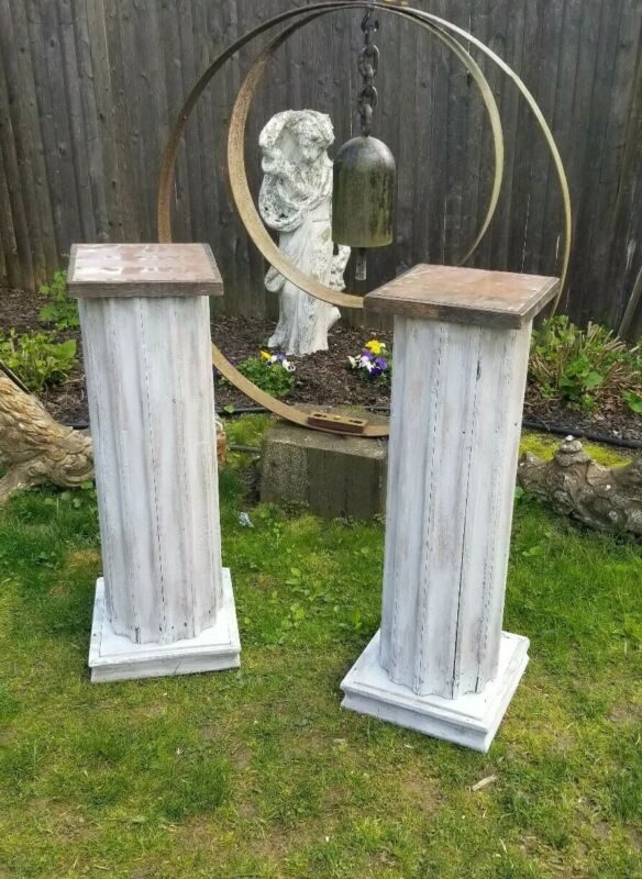 Vtg Reclaimed Antique Wood Fluted Pillar Pedestals Pair
