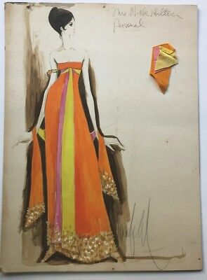 Donfeld Signed 1960s Watercolor Costume Design for Mrs. Nicky Hilton 14x19