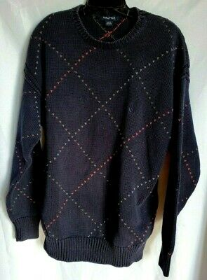 Nautica Classic Long Sleeve Crew neck Sweater Men's Pullover Navy Blue Size L