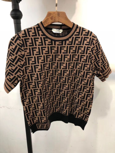 Authentic New Fendi Short Sleevel Sweater  M(38) Brown Logo FF Top