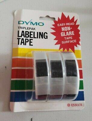 Vtg Nos Dymo Triplepak Labeling Tape Black 38 X 12 3 7286-09