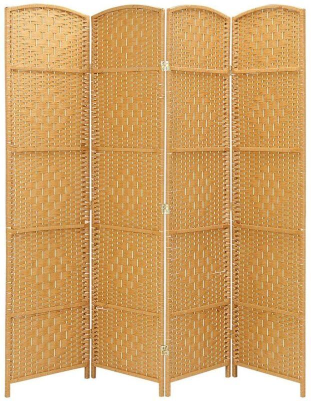4 Panel Room Divider Weave Fiber Privacy Folding Screen Freestanding Light Beige