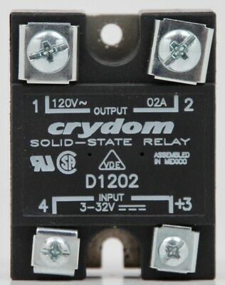 Crydom D1202 Solid State Relay Input 3-32v Output 120v-02a