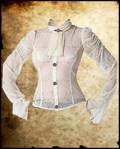 VICTORIAN-STEAMPUNK-IVORY-BLACK-LACE-SHIRT-TOP-BLOUSE-JABOT-COPPER-COG-GOTHIC