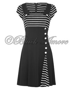 NEW-VINTAGE-CLASSY-RETRO-60-BLACK-WHITE-DRESS-OPTICAL-AUDREY-STYLE-EVENING-PARTY