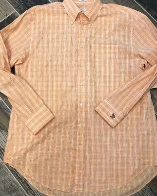 Peter Millar Long Sleeve Mens Shirt Orange Green Button Glen Plaid XL Acorn