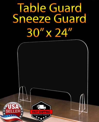 """Sneeze Guard Table Guard Counter Shield 30"""" x 24"""" for Retail & Office & Salon"""