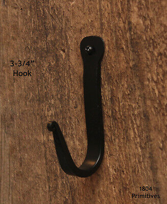 "2 Black Wrought Iron Wall Hooks ~ 3-3/4"" High"