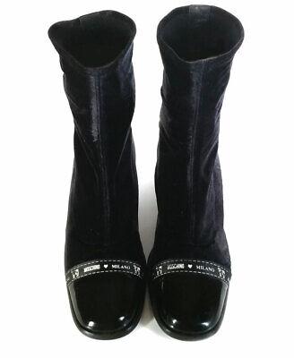 VTG 90'S MOSCHINO Sock Boots Black Velvet Ankle Boots Womens 9 *LOVELY* SZ 39