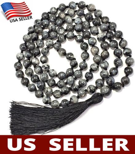 US HANDMADE❤ 108 Japa Mala STONE OF MAGIC Labradorite Hand-Knotted Yoga Necklace