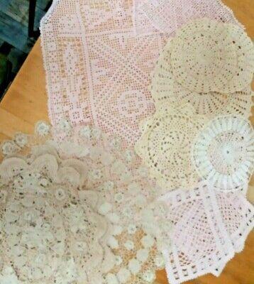 Crochet Doilies Sets-Light Pink-Beige-White-Round-Oval-Square-Lot 13x Vintage