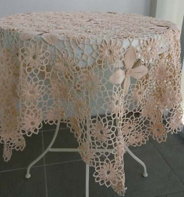 """Vintage White Lace Tablecloth 51/"""" x 146/"""" Roses"""