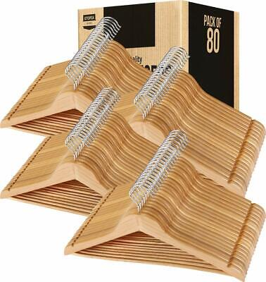 Wooden Hangers Pack of 20 & 80 Suit Hangers Premium Natural Finish Utopia Home
