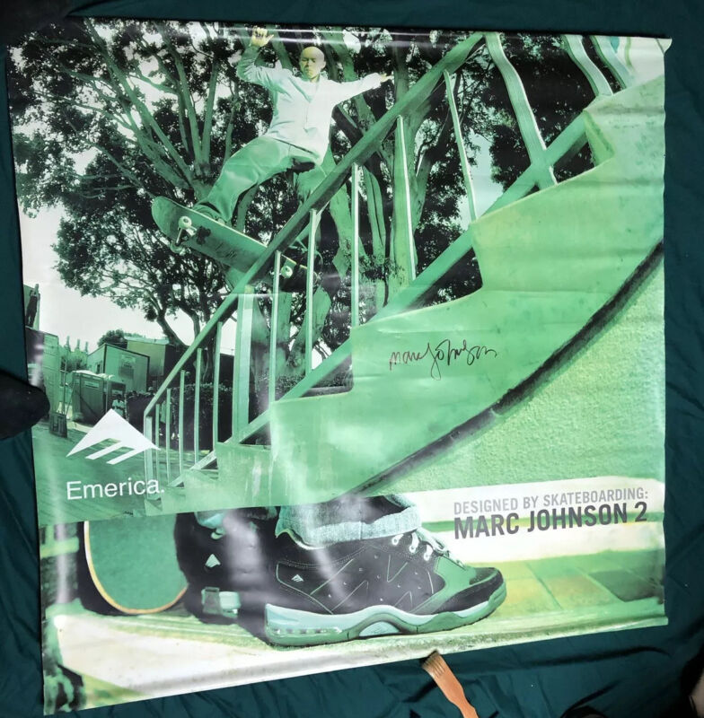 Vintage Emerica Display Promo Poster Double Sided Marc Johnson Signed Skateboard