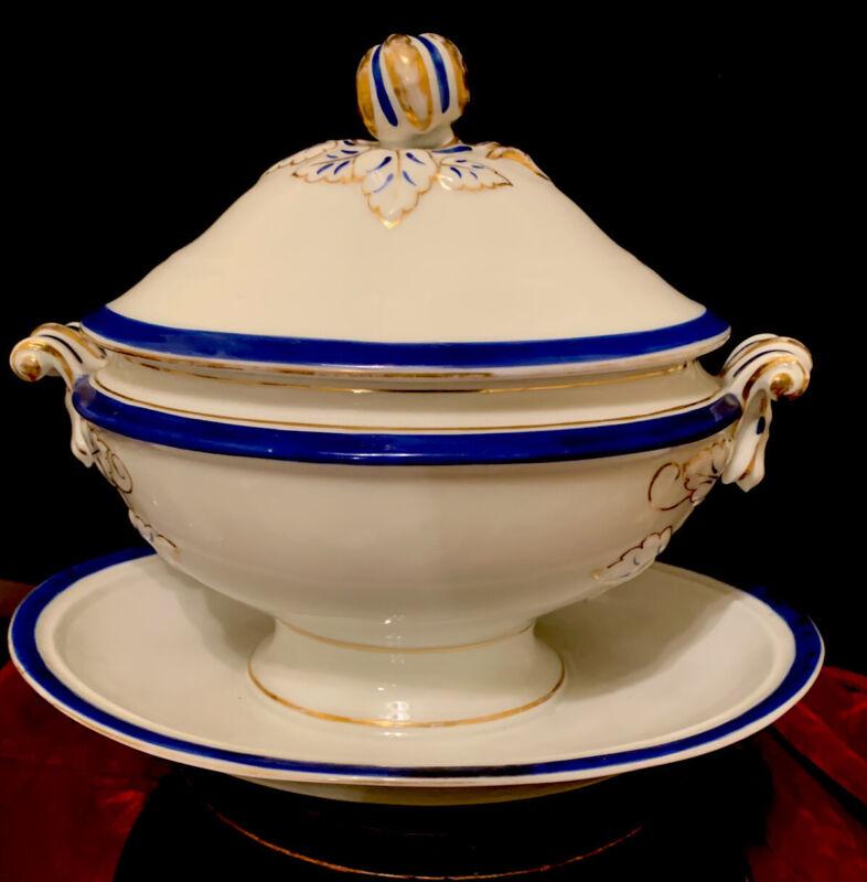 Antique French Paris Porcelain Small Tureen Dish Gravy Boat